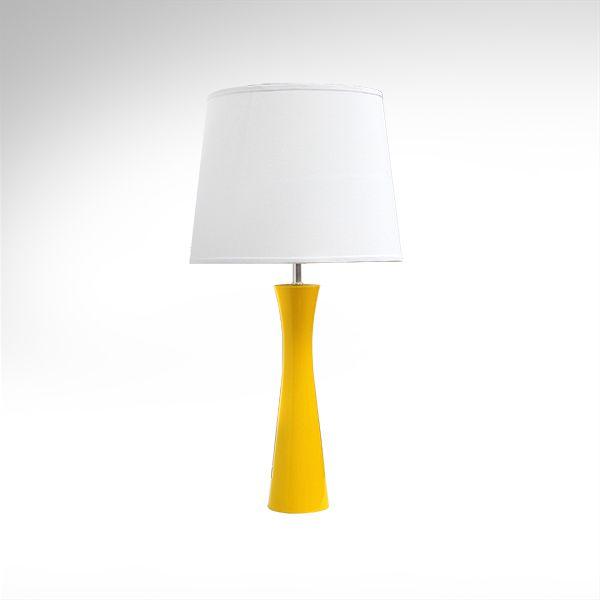 Abajur Colorido Madeira Laqueada Amarelo Cúpula Bivolt 70cm de Altura Avant Golden Art E-27 M715-AM Criados-mudos e Salas