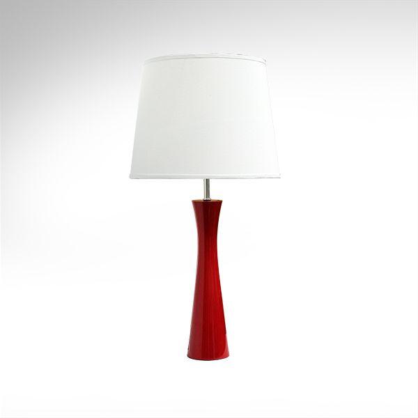 Abajur Rústico Colorido Madeira Laqueada Vermelho Cúpula Bivolt 70cm de Altura Avant Golden Art E-27 M715-VM Mesas e Quartos