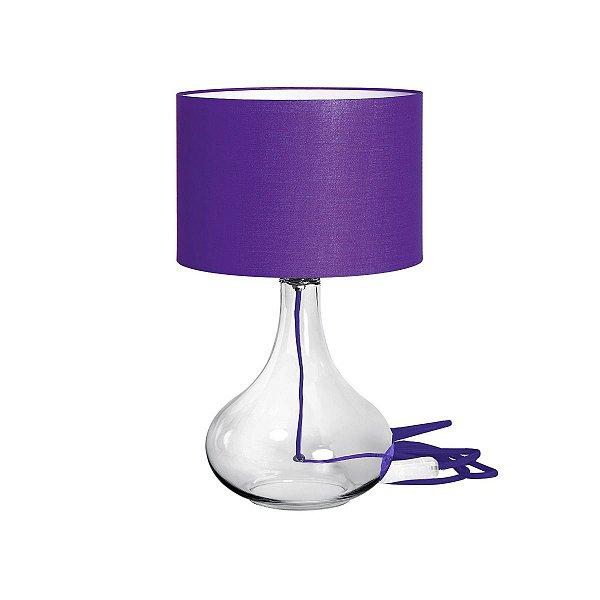 Abajur Vidro Transparente Cúpula Colorida Roxa Tecido Bivolt 50cm de Altura InColore Luciin E-27 CF079/8 Mesas e Quartos