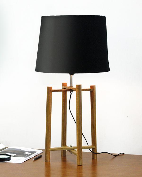 Abajur Rústico Madeira Maciça Quadripé Cúpula Tecido Bivolt 68cm de Altura Scaffo Golden Art E-27 M749 Quartos e Salas