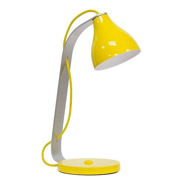 Abajur Luminária de Mesa Colorida Calha Amarela Bivolt Leitura 45cm de Altura Guile Golden Art G9 M850 Quartos e Salas