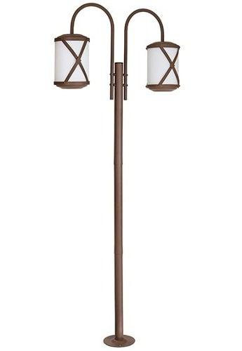 Poste Jardim Império Duplo Coluna Luminária Rústica Metal Envelhecido Vidro Fosco  Made 2616