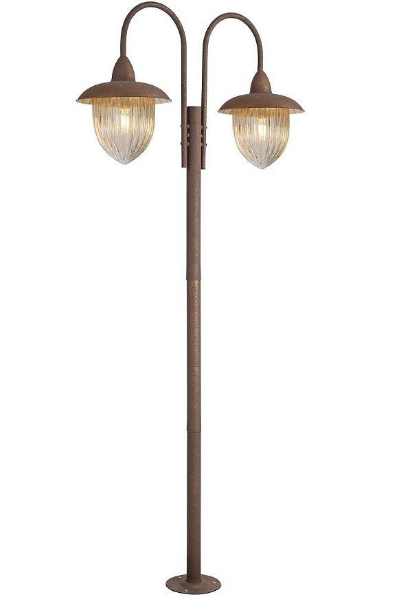Poste Jardim Veneza Duplo Coluna Luminária Rústica Metal Envelhecido Vidro Ambar  Made 2590.89