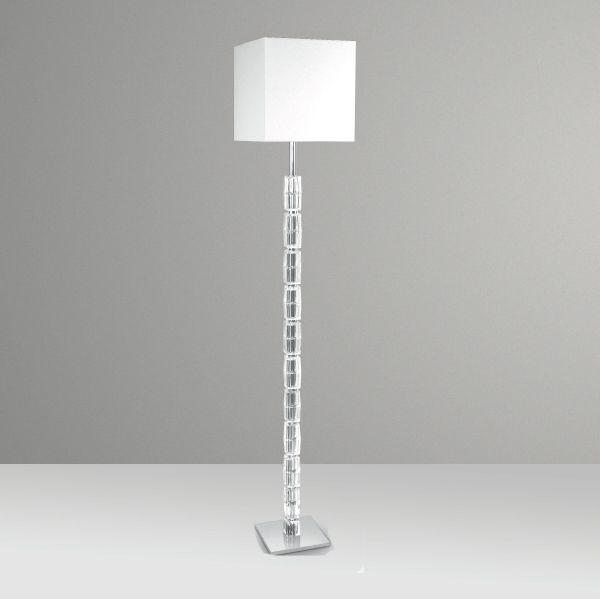 Coluna Luminária de Chão Cubos de Vidro Cúpula Tecido Bivolt 1,6m de Altura Ice Golden Art E-27 C209 Salas e Hall