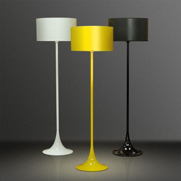 Coluna Luminária de Chão Moderna Colorida Cúpula Plástico Bivolt 1,53m de Altura Mistt Golden Art E-27 C900 Salas e Hall