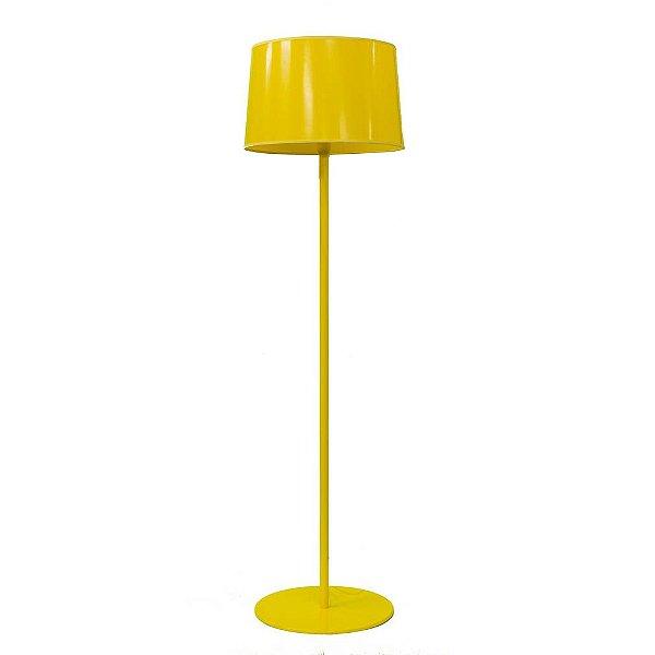 Coluna Luminária de Chão Amarela Alumínio Cúpula ABS Bivolt 1,60m de Altura Castt Golden Art E-27 C895AM Salas e Hall