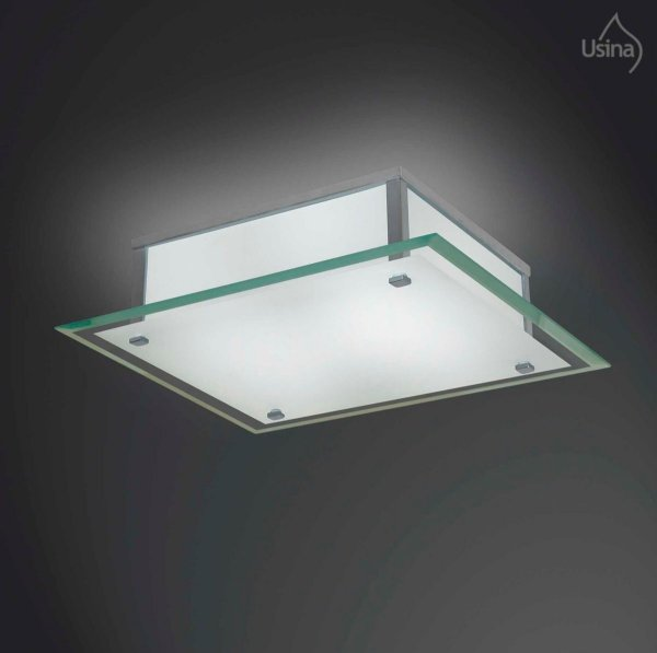 Plafon Quadrado Sobrepor Vidro Fosco Bisotê 4mm 50x50 Fenix Gg Usina Design E-27 23/6 Banheiros e Quartos