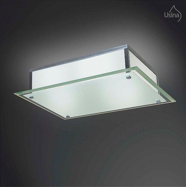 Plafon Escovado Sobrepor Retangular Vidro Bisote Fosco 40x50 Fenix Usina Design E-27 27/6 Quartos e Cozinhas