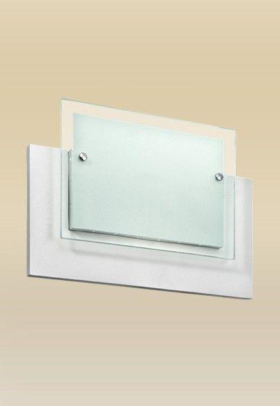Arandela Interna Retangular Branca Mdf Vidro Fosco 30x20 Monalisa Madelustre E-27 2436 Quartos e Salas