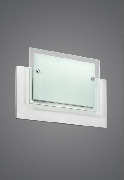 Arandela Interna Retangular Branca Mdf Vidro Fosco 30x20 Monalisa Madelustre E-27 2357 Banheiros e Corredores