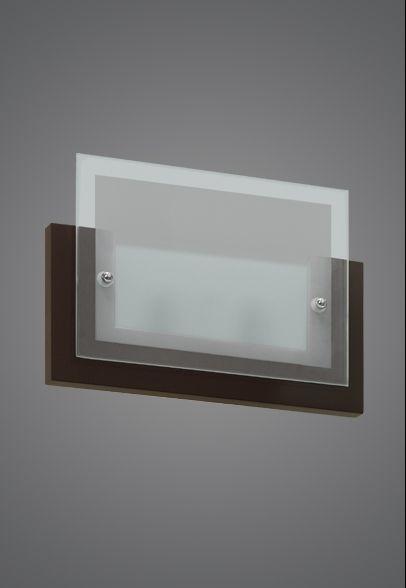 Arandela Interna Retangular Tabaco Vidro Fosco 18x16 Monalisa Madelustre G9 938 Banheiros e Cozinhas