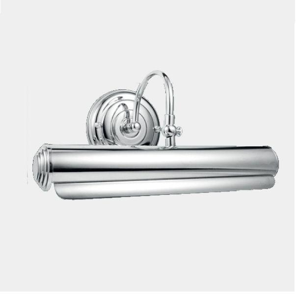 Arandela Para Espelho Quadro Interna Tubular Cromada Inox Calha 30cm Érica Golden Art E-27 P300 Corredores e Salas
