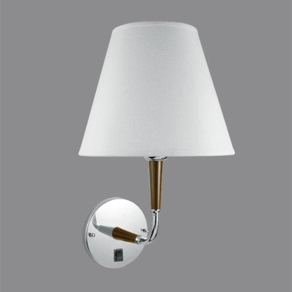 Arandela Interna Cromada c/Interruptor Cúpula Tecido Braço Madeira Golden Art E-27 P352 Corredores e Salas