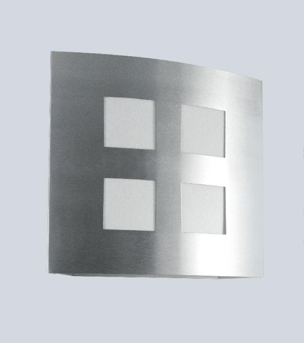 Arandela Interna Quadrada Alumínio Cromado Fosco Quadriculada 26x26 Golden Art E-27 P384 Quartos e Salas