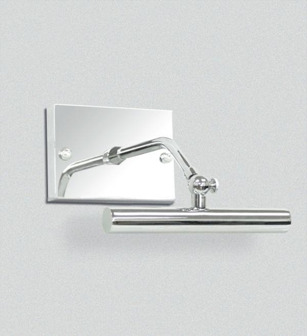 Arandela para Espelho Quadro Canopla Retangular Cromada Calha Inox 16cm Golden Art Halógena P371-A Banheiros e Salas