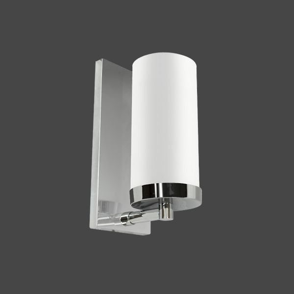 Arandela Cromada Inox Cúpula Cilíndrica Vidro Leitoso Interruptor 9x24 Golden Art E-27 P358-20 Corredores e Cozinhas
