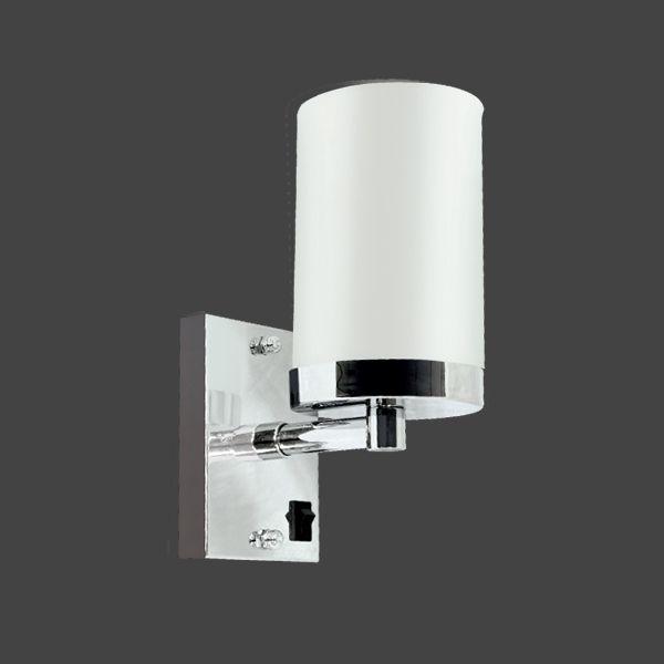 Arandela Cromada c/ Interruptor Inox Cúpula Vidro Leitoso Cilíndrica Ø18 Golden Art E-27 P357 Corredores e Salas
