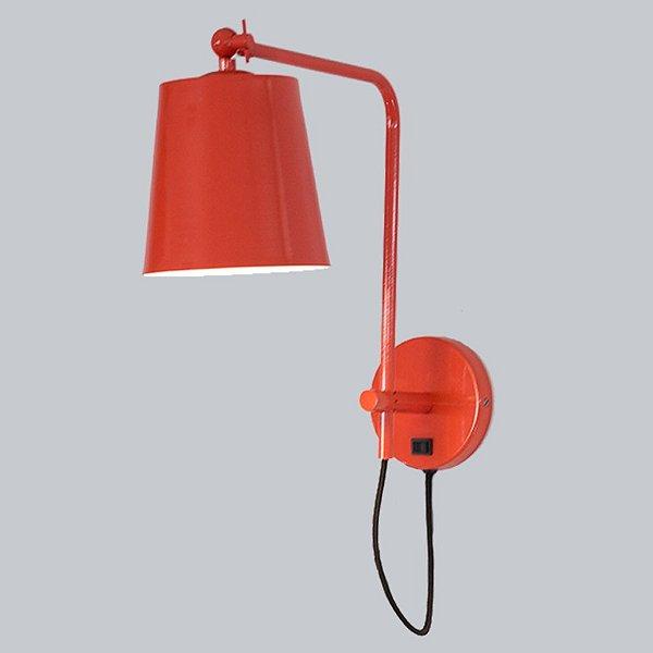 Arandela Interna Cúpula Vermelha Alumínio Inox Interruptor 33x25 Mazza Golden Art E-27 P669 Quartos e Salas