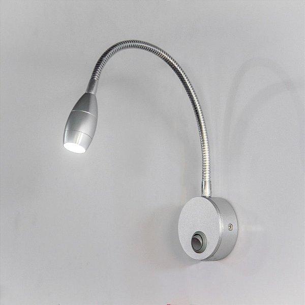 Arandela Articulada Haste Flexivel Alumínio Inox c/ Interruptor 34cm Hanter Golden Art Led P655 Escritórios e Quartos.