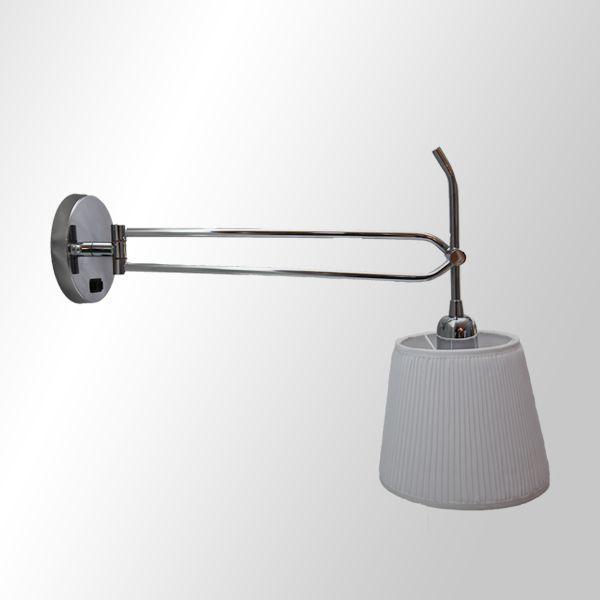 Arandela Izzis Articulada Luminária Cúpula Tecido Plissada Parede Quarto Escritório Cabeceira P735