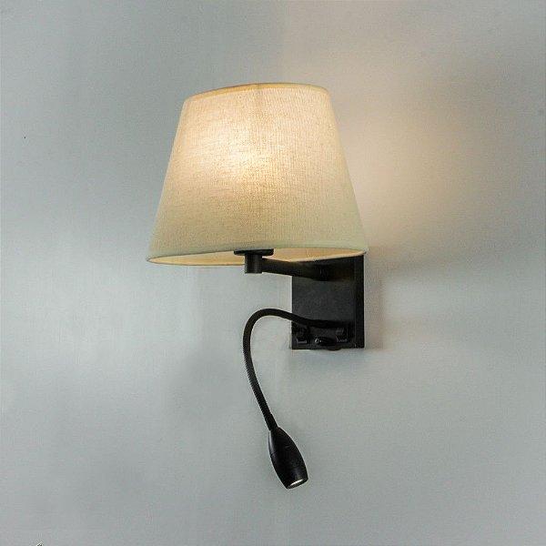Arandela Interna Cromada Cúpula Tecido Haste Flexivel Bivolt 18x16 Starck Golden Art E-27 P656 Quartos e Salas