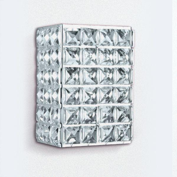 Arandela Retangular Cristal Asfour Transparente Luminária Alumínio 15x10 Golden Art G9 PC003 Banheiros e Quartos