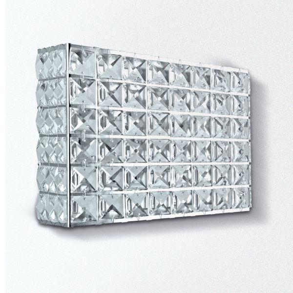 Arandela Retangular Cristal Asfour Luminária Alumínio Cromado 15x20 Golden Art G9 PC002 Corredores e Salas