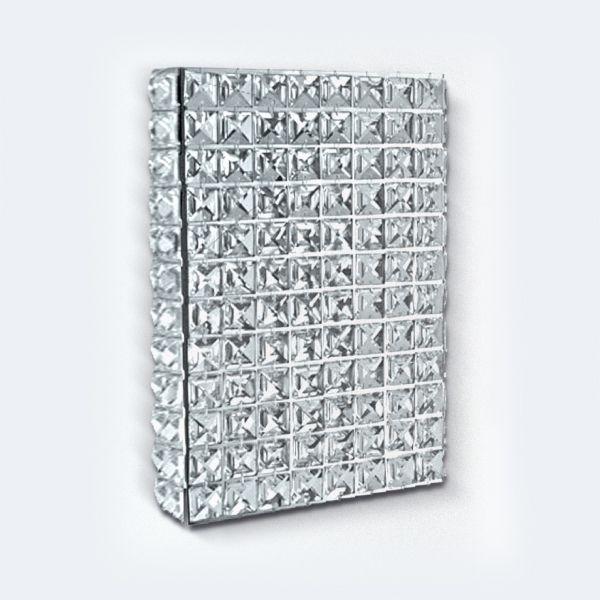 Arandela Interna Retangular Painel Cristal Asfour Transparente Alumínio 29x20 Golden Art G9 PC001 Banheiros e Quartos