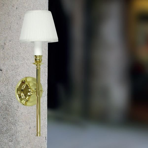 Arandela Interna Vintage Dourada Cúpula Tecido Seda Plissada 14x09 Tocheiro Golden Art E-27 P950 Corredores e Salas