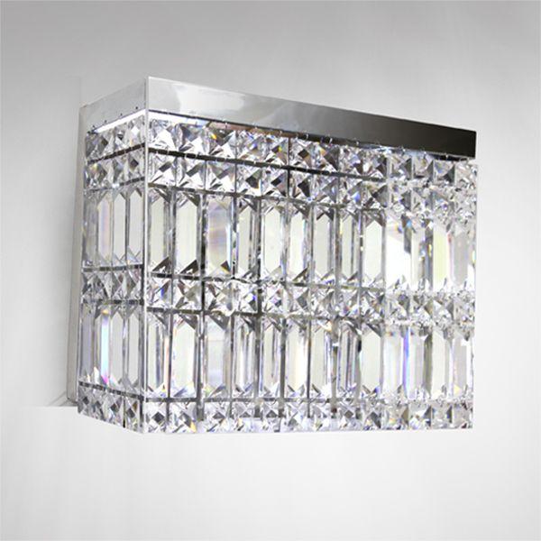 Arandela Interna Retangular Cristal Asfour Transparente Lapidado 30x10 Laila Golden Art G9 P922 Quartas e Salas