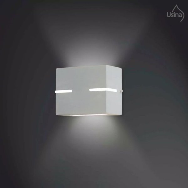 Arandela Interna Quadrada Alumínio Fosco Branco Vidro e Lente 11x11 Avenca Usina Design G9 5107/1 Quartos e Salas