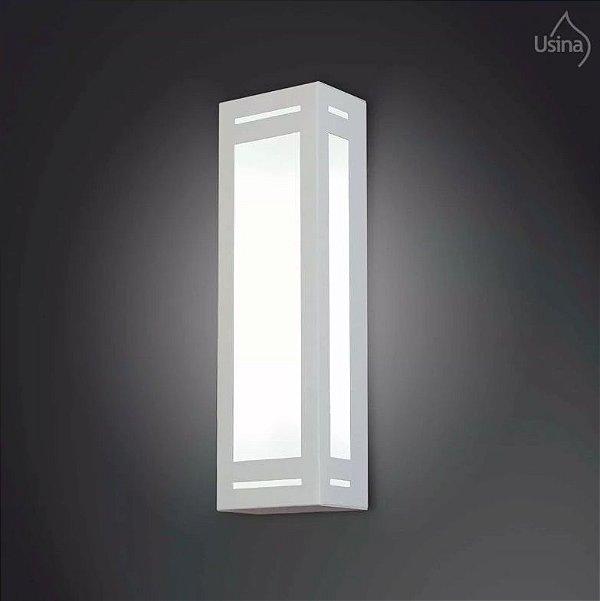 Arandela Retangular Externa Luz Frontal Alumínio Vidro 12x25 Bêgonia Usina Design E-27 5045/1 Garagens e Jardins