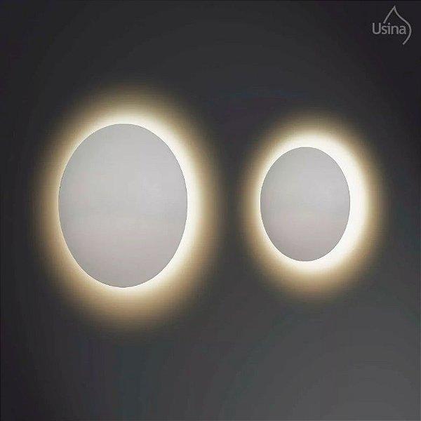 Arandela Redonda Alumínio Branco Fosco Luz Indireta 30x9 Eclipse Usina Design G9 239/30 Corredores e Quartos