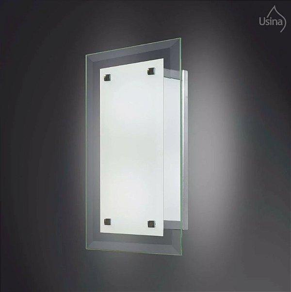 Arandela Interna Camarim Vidro Temperado Transparente 30x15 31/1 Fenix Usina Design E-27 Banheiros e Corredores