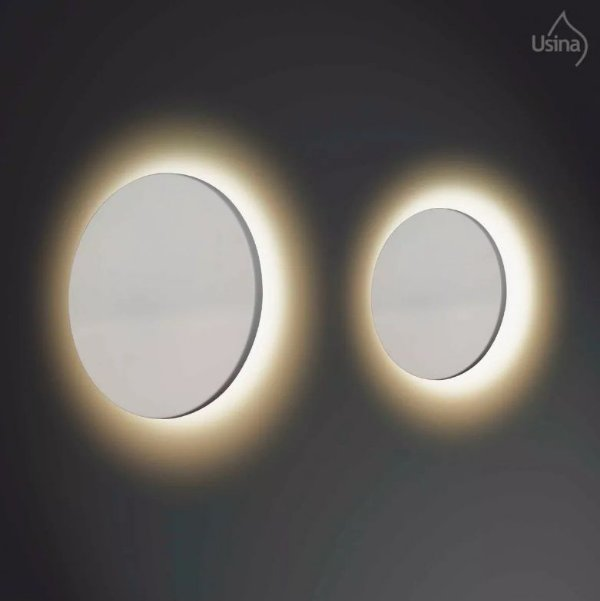 Arandela Interna Inox Branca Redonda Reta Decorativa 21X6 Eclipse Usina Design 249/20 Quartos e Salas