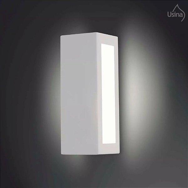 Arandela Interna Retangular Inox Luz Frontal Vidro 28x10 Jasmim Usina Design E-27 5061/1 Banheiros e Cozinhas