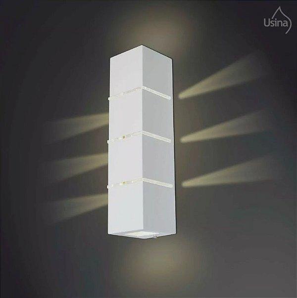 Arandela Externa Luz Frontal Facho Alumínio Fosco Acrílico 40x11 Ipe Usina Design G9 5000/3 Garagens e Jardins
