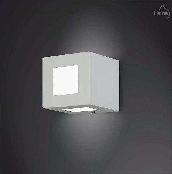 Arandela Interna Alumínio Box Quadrada Luz Indireta 11x11 Jasmim Usina Design G9 5111/1 Corredores e Quartos