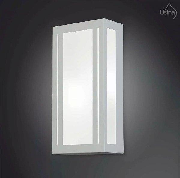 Arandela Interna Retangular Vidro Luz Frontal Decorativa 15x40 2012 Usina Design E-27 5155/40 Banheiros e Corredores