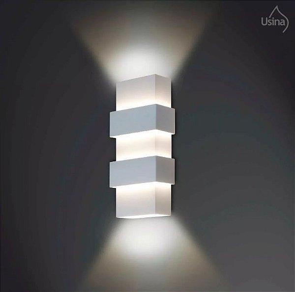 Arandela Externa Tubo Retangular Vidro Fosco Luz Frontal 07x56 Smart Usina Design G9 5221/56 Muros e Jardins