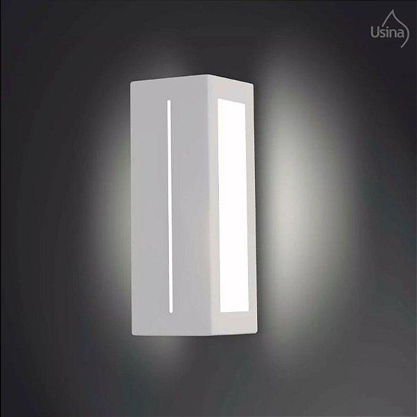 Arandela Externa Retangular Luz Frontal Alumínio Fosco Vidro 28x10 Jasmim Usina Design E-27 5063/1 Muros e Jardins