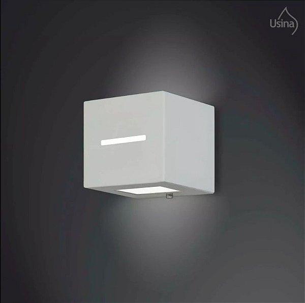 Arandela Externa Box Quadrada Alumínio Fosco Vidro 11x11 Jasmim Usina Design G9 5112/1 pp Muros e Jardins