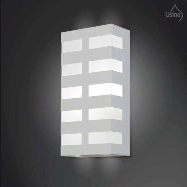 Arandela Retangular Inox Decorativa Luz Frontal Fosca 15x30 2012 Usina Design E-27 5135/30 Corredores e Salas