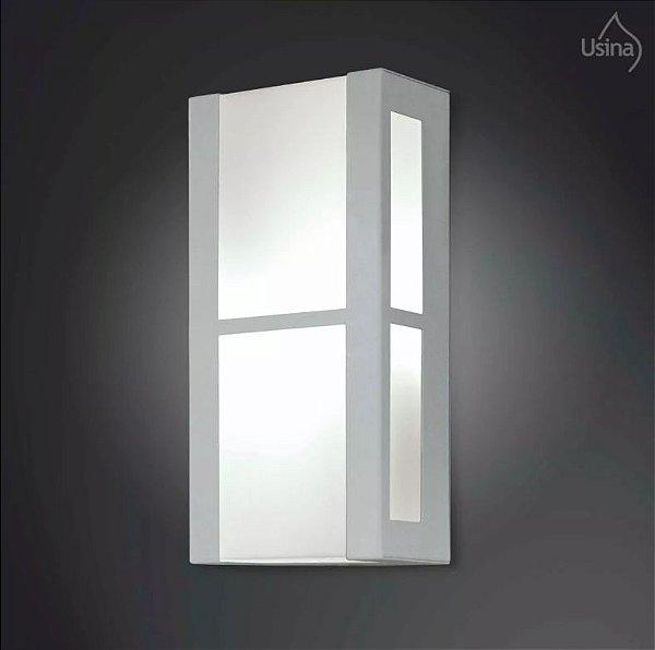 Arandela Interna Branca Retangular Vidro Fosco 15x30 2012 Usina Design E-27 5125/30 Quartos e Salas