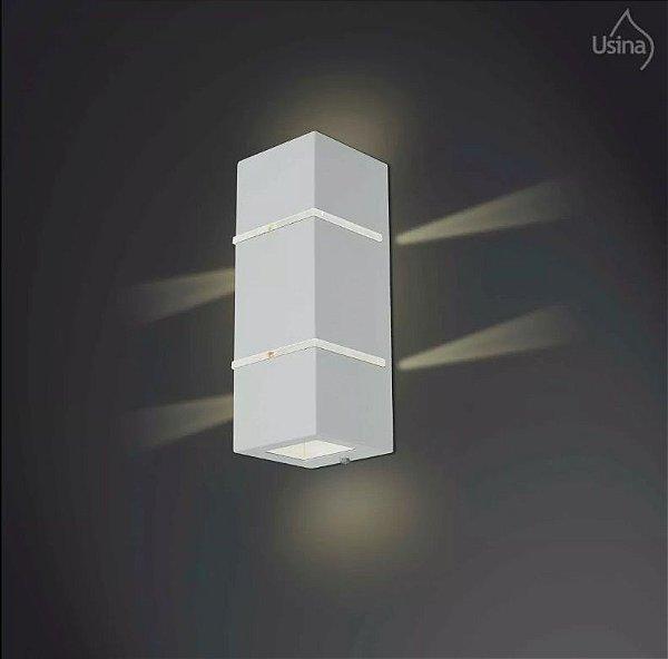 Arandela Externa Retangular Alumínio Fosco Blindada Luz Frontal 27x11 Ipe Usina Design G9 5002/2 Muros e Garagens