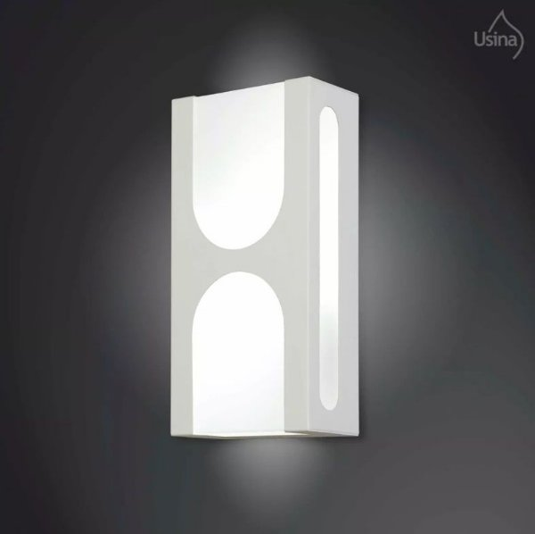 Arandela Interna Branca Vidro Fosco Decorativa 15x30 2012 Usina Design E-27 5160/30 Corredores e Quartos
