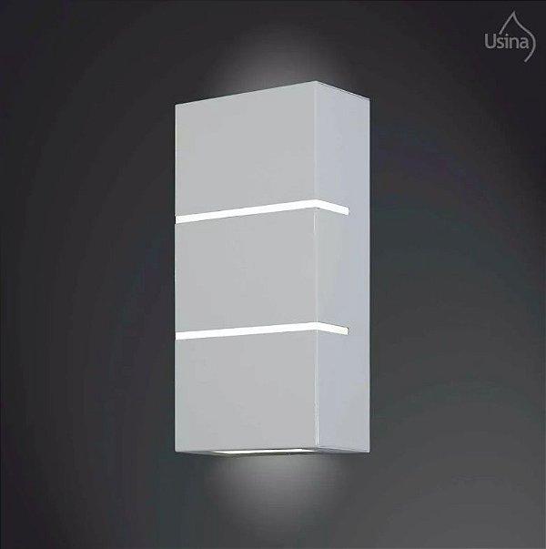 Arandela Interna Inox Retangular Fosca Decorativa Vidro 15x30 2012 Usina Design E-27 5180/30 Quartos e Salas
