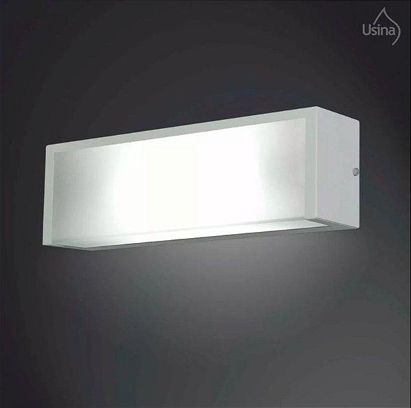 Arandela Interna Retangular Branca Luz Frontal Vidro Fosco 12x25 2012 Usina Design E-27 5170/25 Quartos e Salas