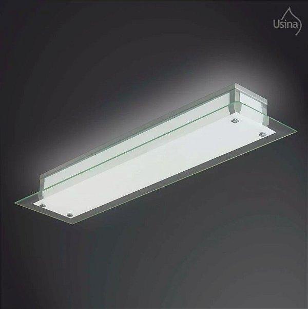 Arandela Interna Retangular Vidro Temperado Transparente Camarim 15x60 Fenix Usina Design E-27 33/3 Cozinhas e Salas