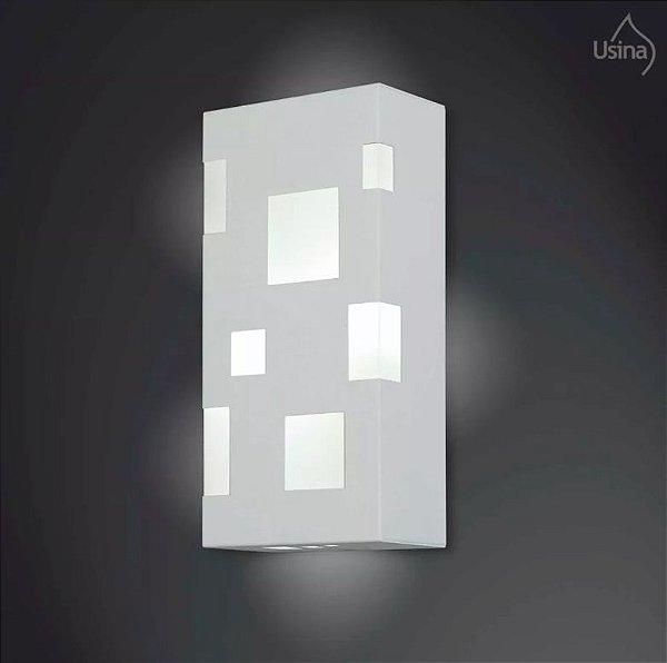 Arandela Interna Alumínio Quadriculada Decorativa 15x30 2012 Usina Design E-27 5195/30 Corredores e Escritórios